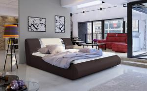NABBI Folino 160 čalúnená manželská posteľ s roštom tmavohnedá / béžová