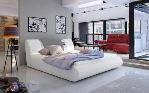 NABBI Folino 180 čalúnená manželská posteľ s roštom biela / sivá