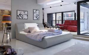 NABBI Folino 180 čalúnená manželská posteľ s roštom sivá / biela