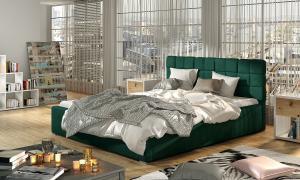 NABBI Galimo 140 čalúnená manželská posteľ s roštom tmavozelená