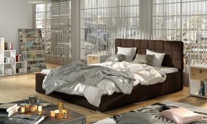 NABBI Galimo UP 140 čalúnená manželská posteľ s roštom tmavohnedá