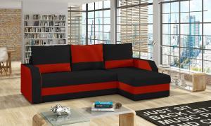NABBI Ginzo L/P rohová sedačka s rozkladom a úložným priestorom čierna / červená