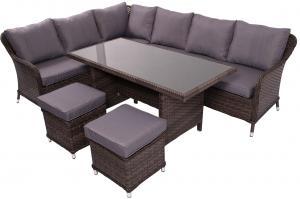 NABBI Grandissimo záhradný nábytok z umelého ratanu tmavosivá / sivá