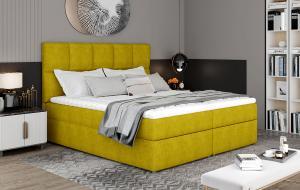 NABBI Grosio 145 čalúnená manželská posteľ s úložným priestorom žltá