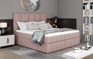 NABBI Grosio 165 čalúnená manželská posteľ s úložným priestorom ružová