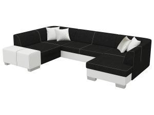 NABBI Halvega L rohová sedačka u s rozkladom a úložným priestorom čierna / biela