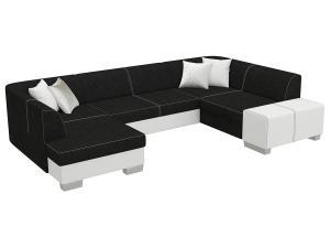 NABBI Halvega P rohová sedačka u s rozkladom a úložným priestorom čierna / biela