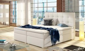 NABBI Isola 180 čalúnená manželská posteľ biela