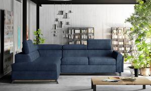 NABBI Korense L rohová sedačka s rozkladom a úložným priestorom modrá