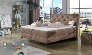 NABBI Lazio 140 čalúnená manželská posteľ s úložným priestorom hnedá