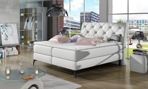 NABBI Lazio 180 čalúnená manželská posteľ s úložným priestorom biela