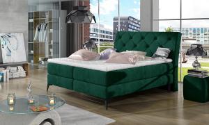 NABBI Lazio 180 čalúnená manželská posteľ s úložným priestorom tmavozelená