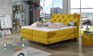 NABBI Lazio 180 čalúnená manželská posteľ s úložným priestorom žltá