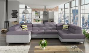 NABBI Licaro U L rohová sedačka u s rozkladom a úložným priestorom fialová / svetlosivá / vzor