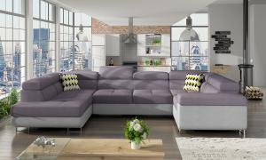 NABBI Licaro U P rohová sedačka u s rozkladom a úložným priestorom fialová / svetlosivá / vzor
