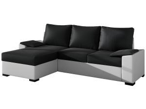 NABBI Linzo L/P rohová sedačka s rozkladom a úložným priestorom čierna / biela