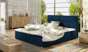 NABBI Liza 140 čalúnená manželská posteľ s roštom tmavomodrá