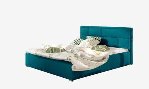 NABBI Liza 160 čalúnená manželská posteľ s roštom tyrkysová