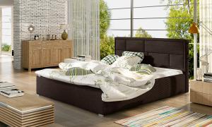 NABBI Liza 180 čalúnená manželská posteľ s roštom tmavohnedá (Sawana 26)