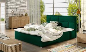 NABBI Liza 200 čalúnená manželská posteľ s roštom tmavozelená