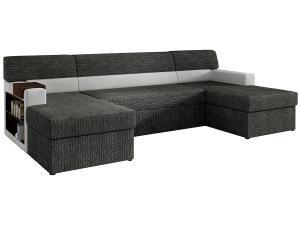 NABBI Matosino L rohová sedačka u s rozkladom a úložným priestorom čierna / biela