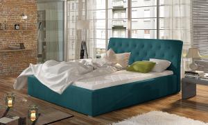 NABBI Monzo UP 160 čalúnená manželská posteľ s roštom tyrkysová