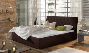 NABBI Monzo UP 180 čalúnená manželská posteľ s roštom tmavohnedá (Sawana 26)