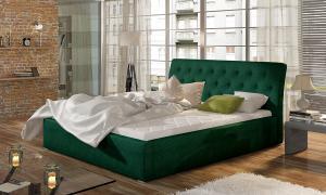 NABBI Monzo UP 180 čalúnená manželská posteľ s roštom tmavozelená