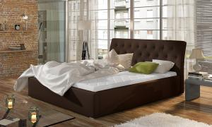 NABBI Monzo UP 200 čalúnená manželská posteľ s roštom tmavohnedá (Soft 66)