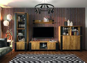 NABBI Olen obývacia izba čierna / craft zlatý
