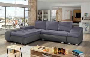 NABBI Oristano L rohová sedačka s rozkladom a úložným priestorom fialová / sivá