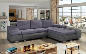 NABBI Oristano P rohová sedačka s rozkladom a úložným priestorom fialová / sivá
