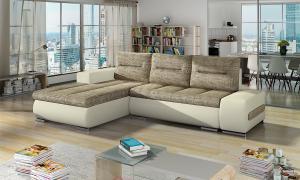 NABBI Otelo L rohová sedačka s rozkladom a úložným priestorom cappuccino / béžová