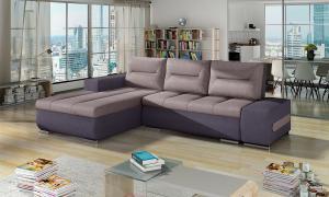 NABBI Otelo L rohová sedačka s rozkladom a úložným priestorom ružová / fialová