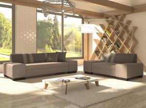 NABBI Pinero 2+3 rozkladacia sedacia súprava svetlosivá / sivá