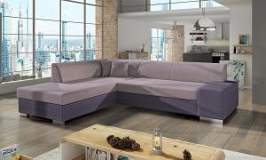 NABBI Pinero L rohová sedačka s rozkladom a úložným priestorom ružová / fialová