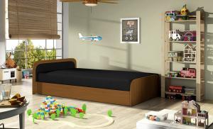 NABBI Pinerolo 80 L jednolôžková posteľ (váľanda) s úložným priestorom čierna