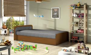 NABBI Pinerolo 80 L jednolôžková posteľ (váľanda) s úložným priestorom sivá