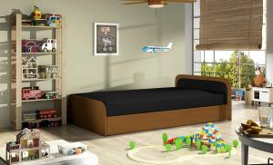 NABBI Pinerolo 80 P jednolôžková posteľ (váľanda) s úložným priestorom čierna