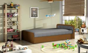 NABBI Pinerolo 80 P jednolôžková posteľ (váľanda) s úložným priestorom sivá