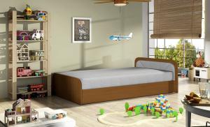 NABBI Pinerolo 80 P jednolôžková posteľ (váľanda) s úložným priestorom svetlosivá