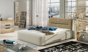 NABBI Portima 140 čalúnená manželská posteľ béžová / cappuccino