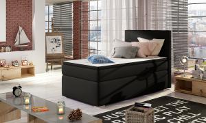NABBI Rodrigo 90 čalúnená jednolôžková posteľ s úložným priestorom čierna (Soft 11)