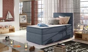 NABBI Rodrigo 90 čalúnená jednolôžková posteľ s úložným priestorom modrá