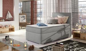 NABBI Rodrigo 90 čalúnená jednolôžková posteľ s úložným priestorom svetlosivá