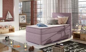 NABBI Rodrigo 90 P čalúnená jednolôžková posteľ s úložným priestorom fialová