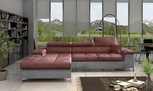 NABBI Rosino L rohová sedačka s rozkladom a úložným priestorom bordová / svetlosivá