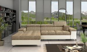 NABBI Rosino L rohová sedačka s rozkladom a úložným priestorom cappuccino / béžová