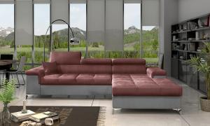 NABBI Rosino P rohová sedačka s rozkladom a úložným priestorom bordová / svetlosivá