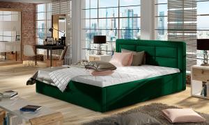 NABBI Rovigo 140 čalúnená manželská posteľ s roštom tmavozelená